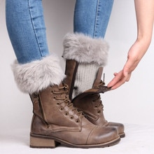Femmes automne hiver chaud Crochet tricot fourrure garniture jambières manchettes Toppers bottes chaussettes 9 couleur tricoté bottes manchettes fourrure accessoires