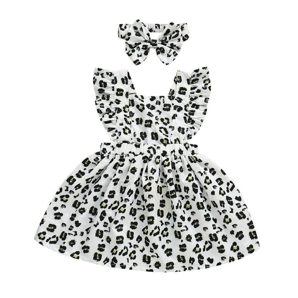 2019 Marca Bonito Kid Baby Girl Verão Sem Mangas Ruffle Vestido Vestido de Verão Do Partido Do Leopardo 2 PCS