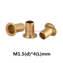 1000 M1.5 pçs/lote Alta Qualidade (d) * 4 (L) mm 1.5 milímetros Marca New Rebite Oco de Cobre placa de circuito Double-sided PCB vias unhas