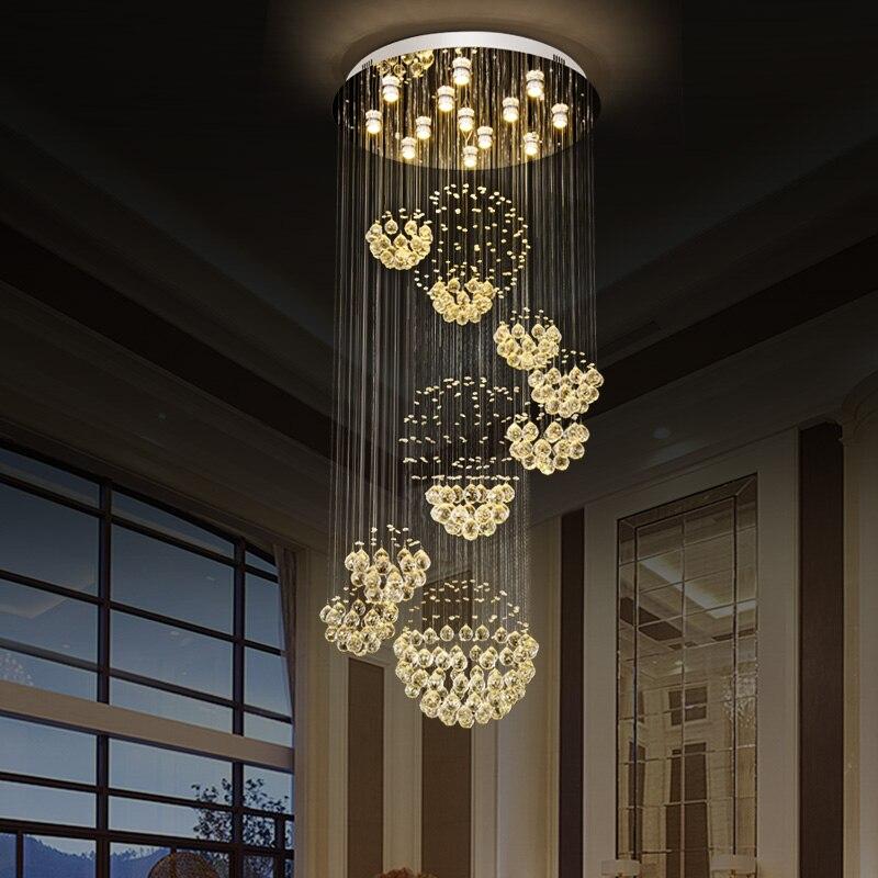 Lámpara de araña de cristal, lámpara moderna para sala de estar, sala de Hotel, decoración interior, lámpara de techo de escalera, 11 bolas, 110-220V