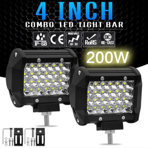 Luz LED de trabajo de 200W y 4 , foco reflector para camión, para motocicletas Jeep, todoterreno, 4x4, ATV, 4WD, SUV, UAZ, luz antiniebla para coche