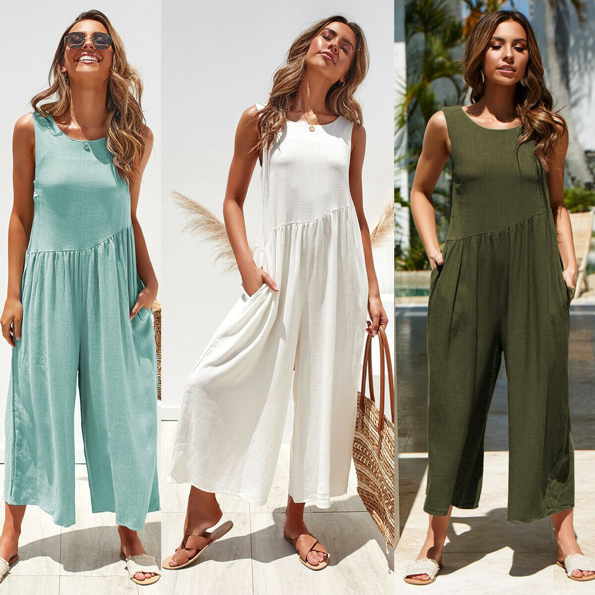 2019 Women Fashion Sleeveless Jumpsuit Romper Casual Backless Loose Clothes Wide Leg Pant Ladies Summer Playsuit S-XL