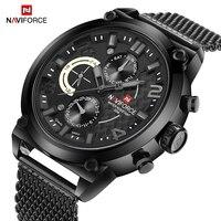 NAVIFORCE Top Brand Men's Sports Watches Stainless Steel Mesh Strap Waterproof Quartz Wrist Watch Clock Men Relogio Masculino