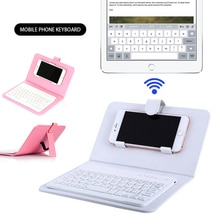 Telefone bluetooth teclado caso capa de couro suporte para 4.5-6.8 Polegada iphone/android telefone