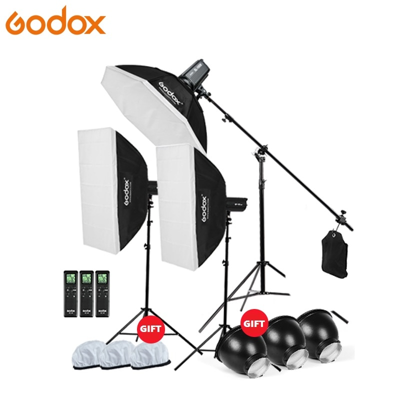 3x Godox непрерывный светильник ing SL-200W CRI93 + 16 каналов 5600K 200W светодиодный видео светильник комплект + 120 см Octa софтбокс + 2,8 м стойка + стрела