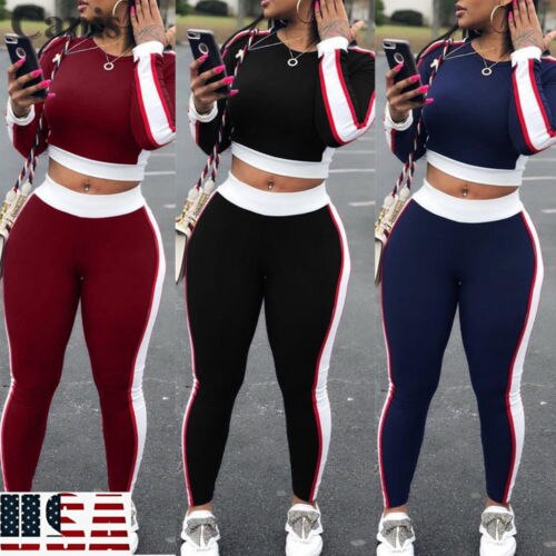 2019 Autumn New Woman Contrast Stripe Cropped Tracksuits Skinny Sport Suit Crop Top&Pant 2Pcs Set USA