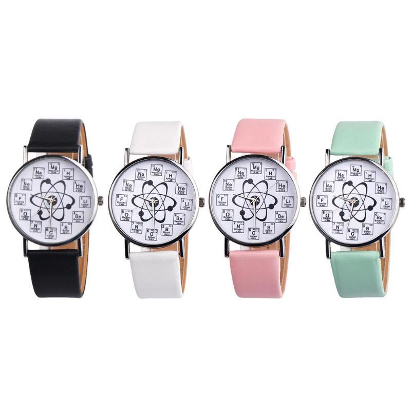 Creativos relojes de pulsera de cuarzo informales de cuarzo analógicos con estampado de símbolo químico y banda de cuero para mujer
