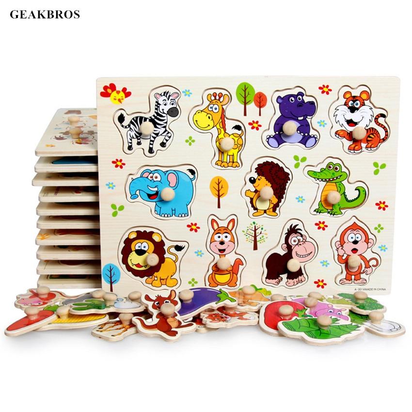 Деревянные игрушки, головоломка, ручной захват, Танграм, детские, ранние, Обучающие Монтессори, алфавит, цифры, автомобиль, животных, 30 см