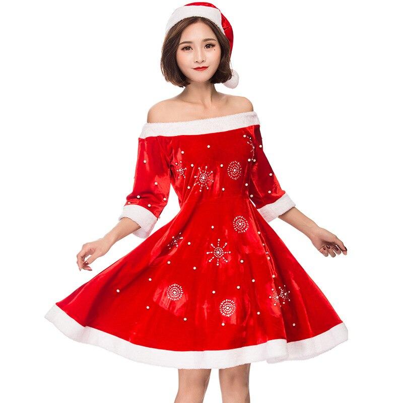 Disfraz de mujer de Navidad de Miss copo de nieve Santa Clause