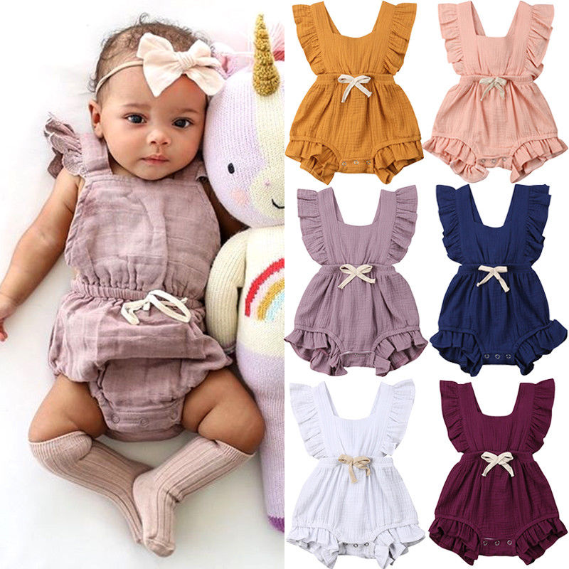 Combinaison bébé fille sans manches   Mignon, couleur unie, barboteuse en coton, vêtements dété, à volants