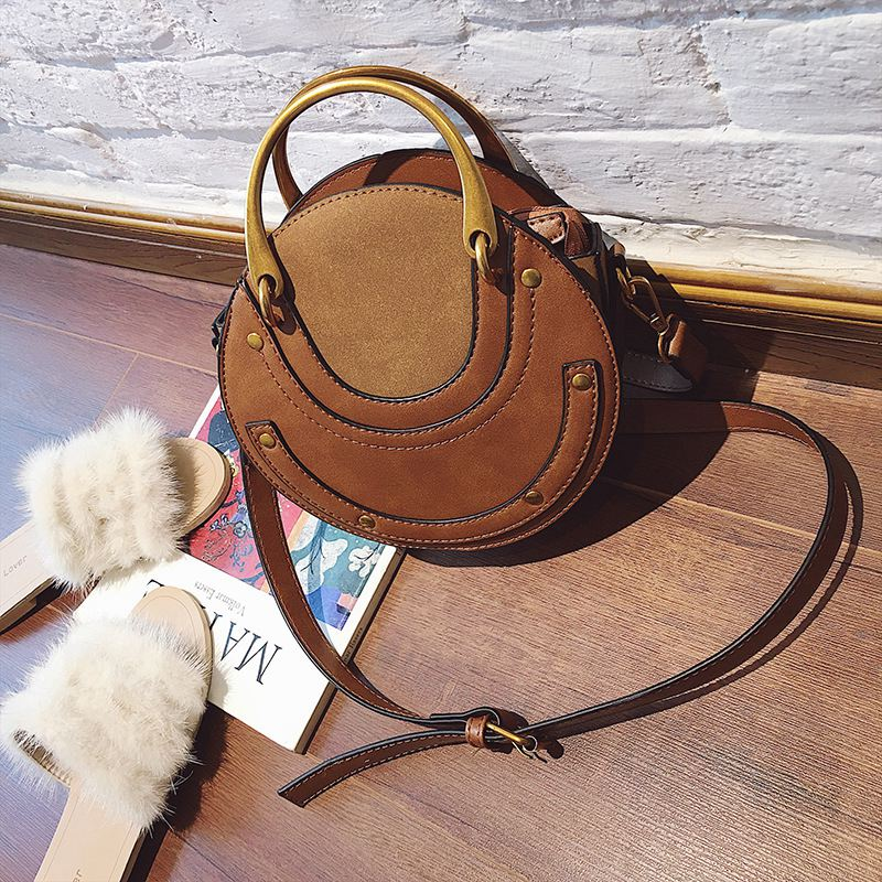 Bolsos circulares de cuero PU para mujer, bolso Retro, pequeño bolso redondo para mujer, minibolso de hombro