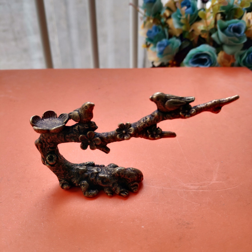 Antiques Chinese Old Bronze Handmade Carved Bird  Plum Blossom Small Statues 2017 chinese art auction records antiques 589 page