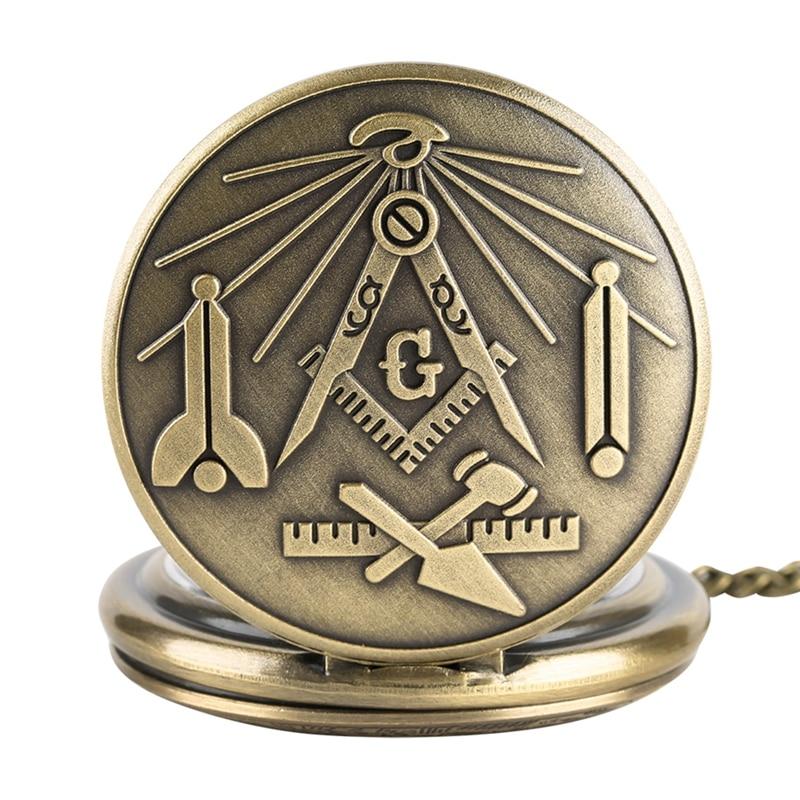 Kotak dan kompas krom freemasonry masonik perunggu, loket kalung retro mason, jam saku kuarza