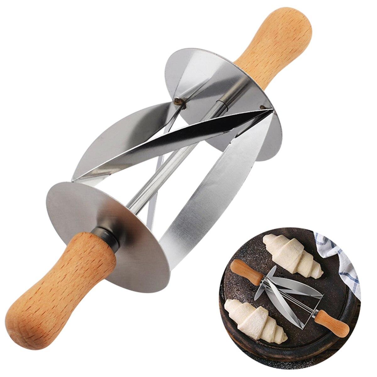 Нержавеющая сталь прокатки резак для изготовления круассан хлеб колесо теста Кондитерская деревянная ручка ножа выпечки кухонный нож