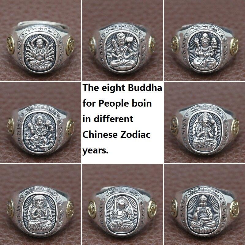 NOUVEAU! Vintage 925 argent bouddha anneaux thaï en argent Sterling bouddha anneaux pour les personnes boin dans le zodiaque chinois années bouddha anneau