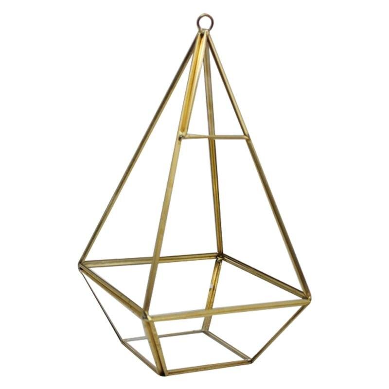 Florero decorativo de cristal transparente con forma geométrica, adorno de moda para boda en casa, cristal + metal 12x12x24cm