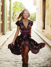 2020 Summer Boho Dress Ethnic Sexy Print Retro Vintage Dress Tassel Beach Dress Bohemian Hippie Dress Robe Vestidos Mujer