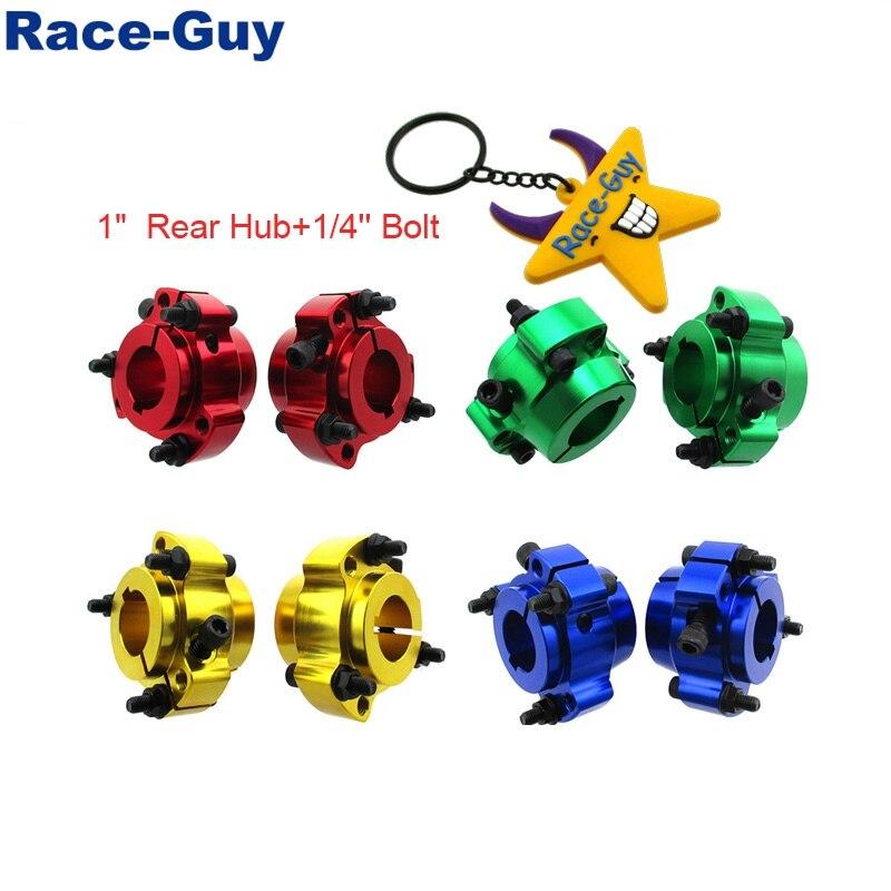 "Alumínio de boleto iluminado que compete 1 ""25mm cubos de roda traseira 1/4"" parafusos para corrida go kart drift trike"