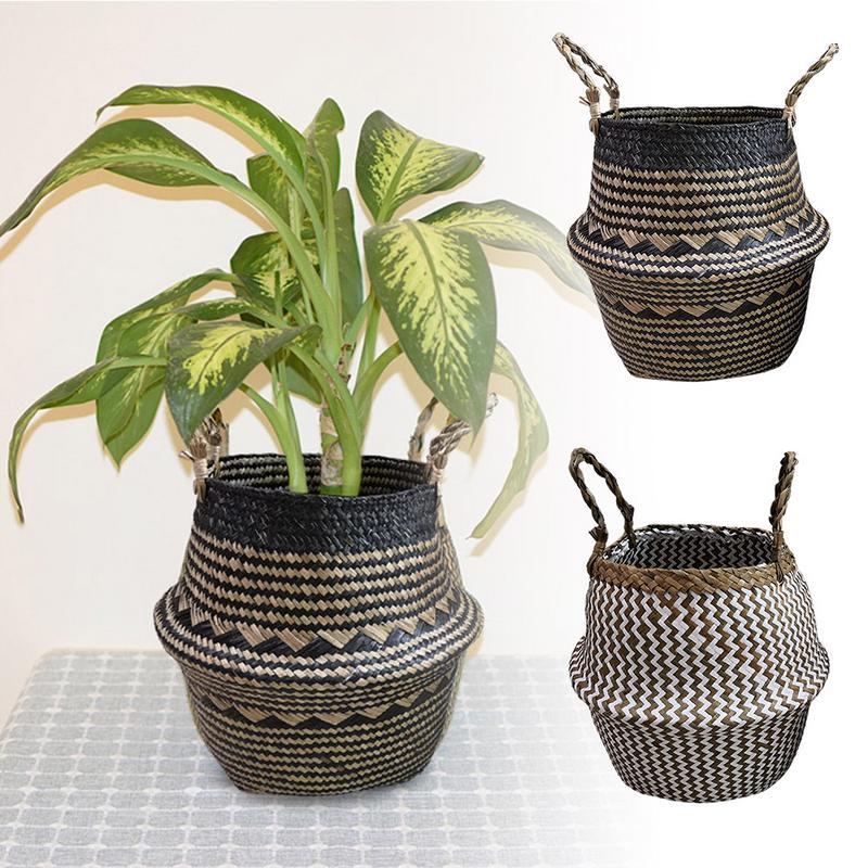 Handmade Bamboo Belly Storage Baskets Foldable Laundry Straw Patchwork Wicker Rattan Seagrass Garden Flower Pot Planter Basket