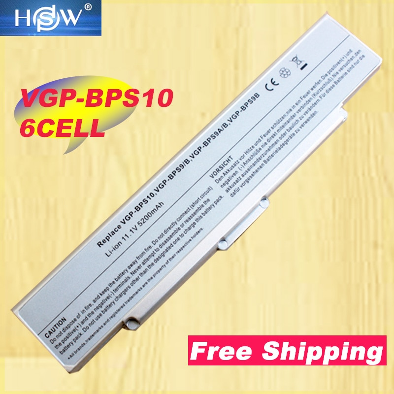 HSW de plata de 6 células VGN-NR50 portátil batería para Sony BPS9 BPS9/B/VGP-BPS9 BPS9A/B/VGP-BPL9 VGP-BPS9/B/VGP-BPS10