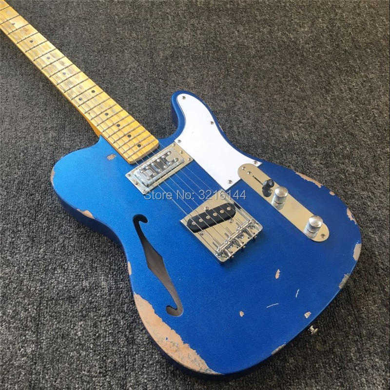 In stock. Antique relic electric guitar. antique do old electric guitar, metallic blue, real photos, wholesale and retail