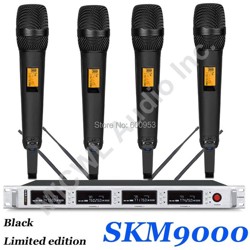 MiCWL-نظام ميكروفون لاسلكي SKM9000 ، 4x100 قناة ، أسود 4 ، لون ذهبي شامبانيا ، إصدار محدود 4 سماعات رأس بيج 4 Lavalier