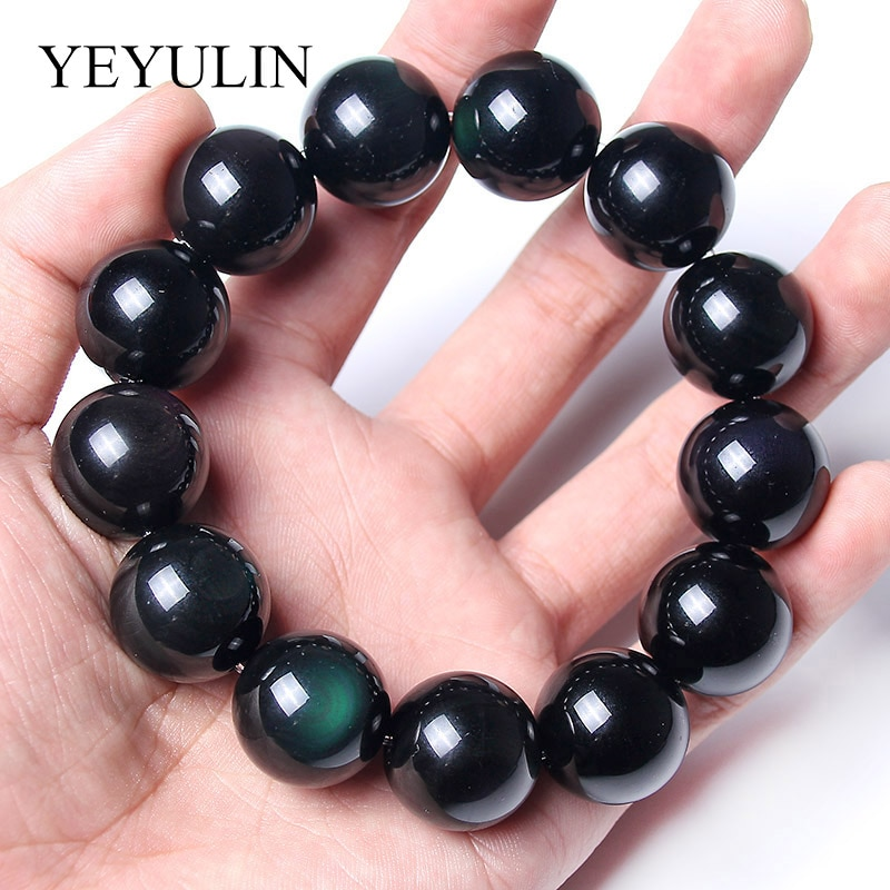 Black Naturally Obsidian Stone Volcanic Glaze Beaded Bracelet For Women Men Birthday Gift Fashion Jewelry 8-20mm Beads
