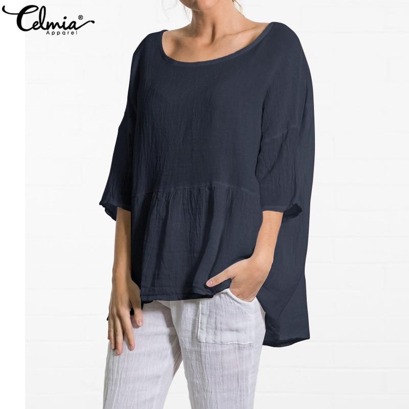 Celmia 2020 Summer Vintage Women Linen Blouses Casual Loose Tunic Tops Pleated Ruffles Shirts Baggy Blusas Camisa Femininas 5XL
