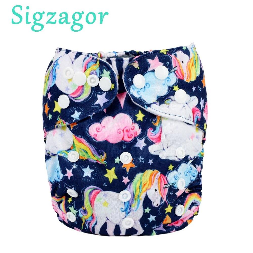 [Sigzagor] Baby Pocket Cloth Diaper Nappy,Reusable,Washable,Adjustable,Happy Birthday,Cake,Gift Skull Fox 240 Designs