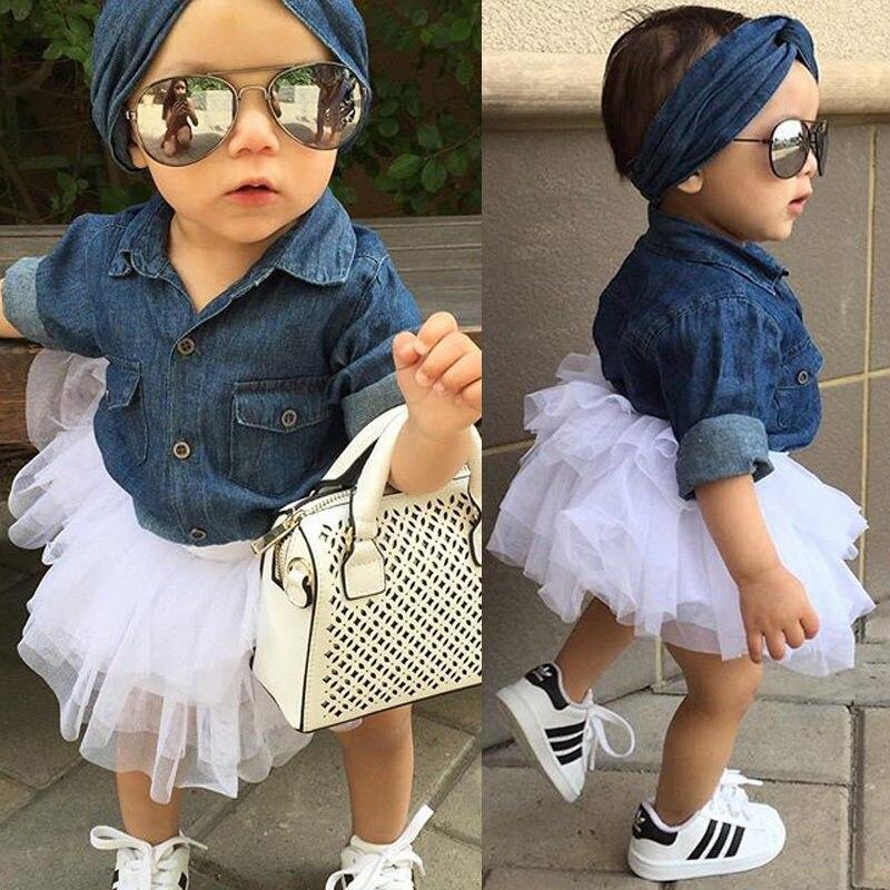 Pudcoco Girls Clothes Toddler Kids Baby Girls Denim Tops T shirt+Tutu Skirts Dress 3pcs Outfits Set
