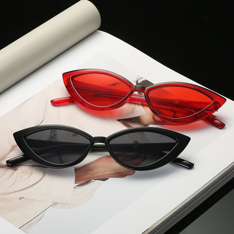 Nuevas gafas de sol Vintage de ojo de gato negro para mujer, gafas de sol de marco pequeño de marca de diseñador a la moda, gafas de sol estilo ojos de gato para sombras femeninas UV400