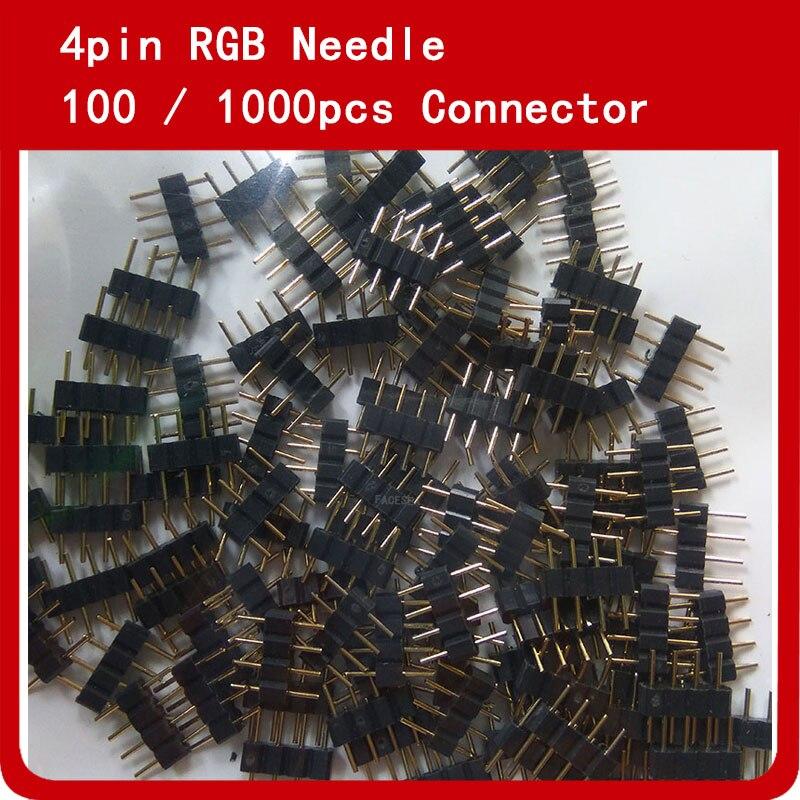 100 pcs 1000 pçs/lote 4pin RGB conector agulha Masculino Cabeçalho Duplo 4 pinos Para 3528 5050 RGB Led Strip Conectores