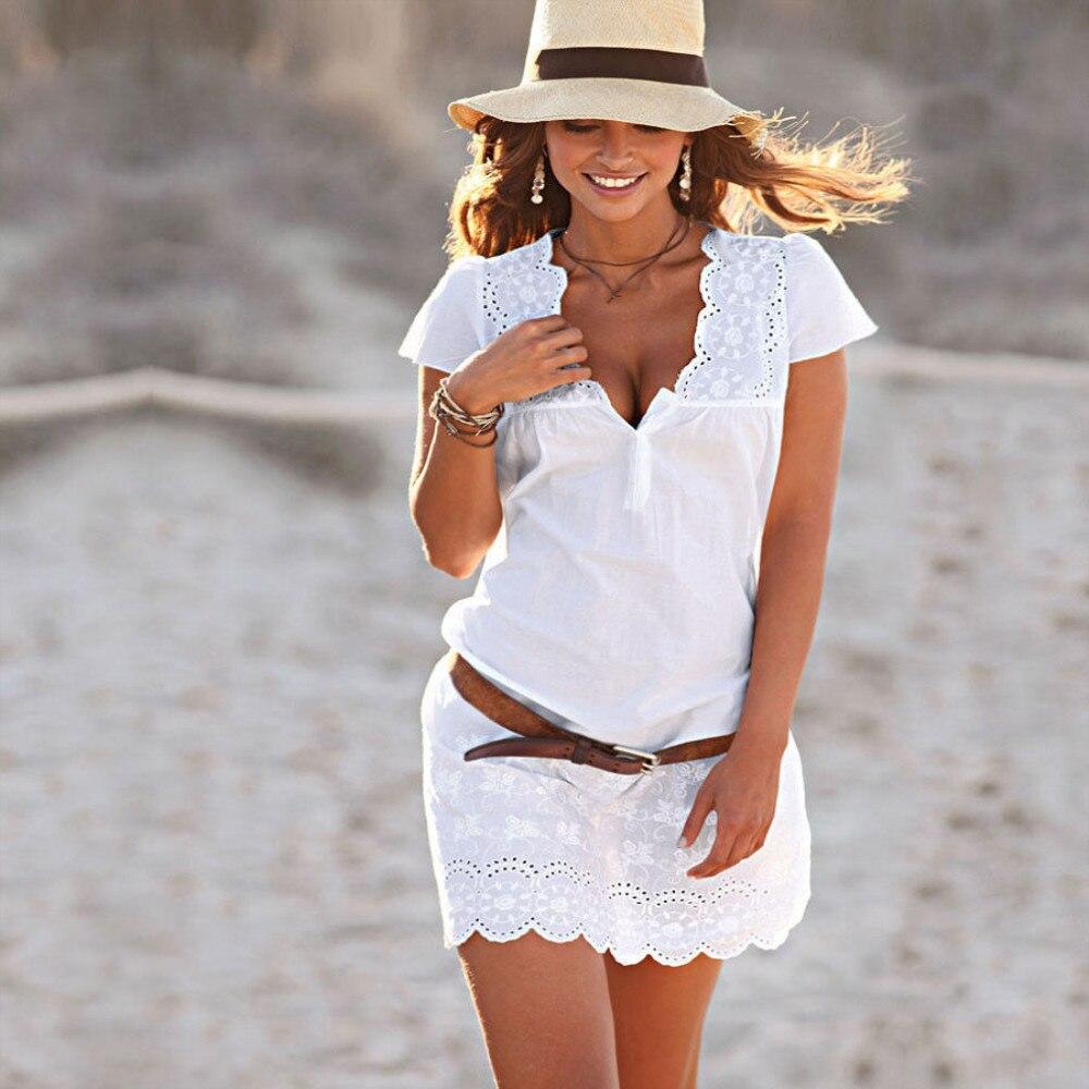 Vestido de verano Casual bordado para mujer y Chica, minivestido blanco de manga larga con cuello de pico y corta de tubo de talla grande