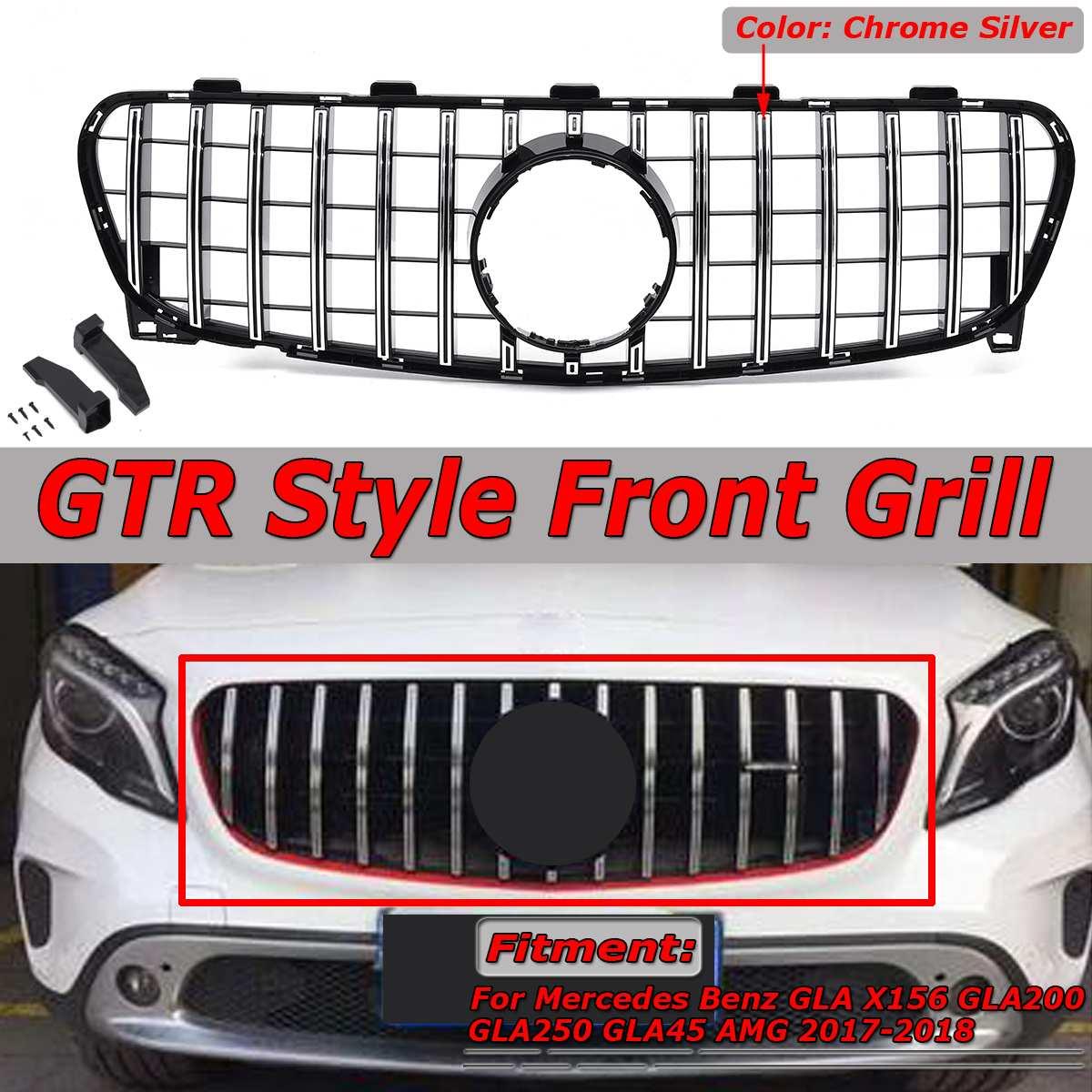 Novo chrome prata gt r estilo superior grade dianteira do carro para mercedes para benz gla x156 gla200 gla250 gla45 para amg 2017-2018