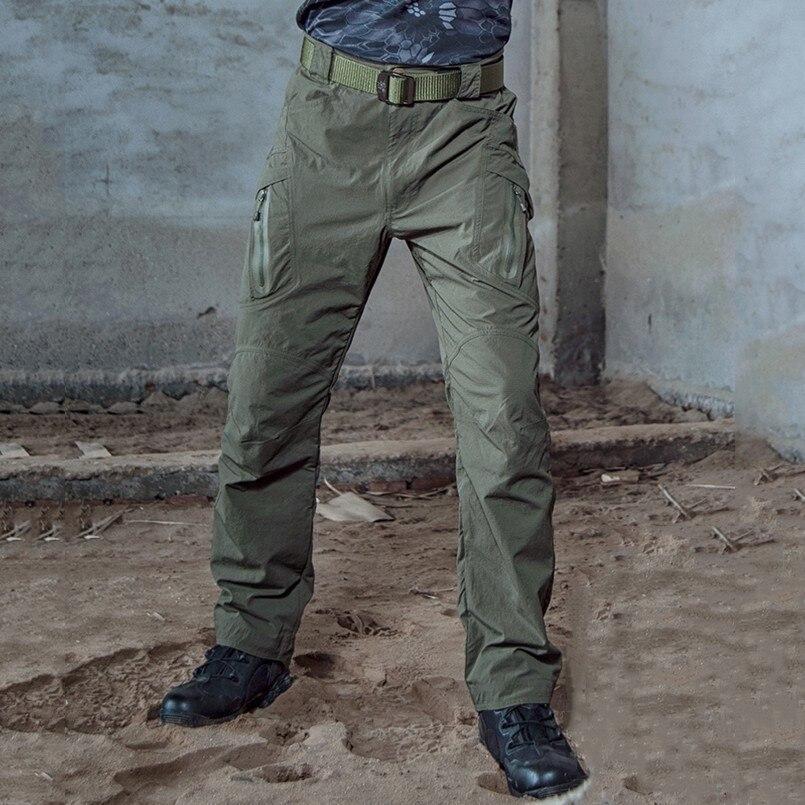 Impermeable ligera de secado rápido pantalones de carga tácticas hombre Miliatry transpirable combate pantalones de Nylon Rip-Stop gran pantalones de bolsillo