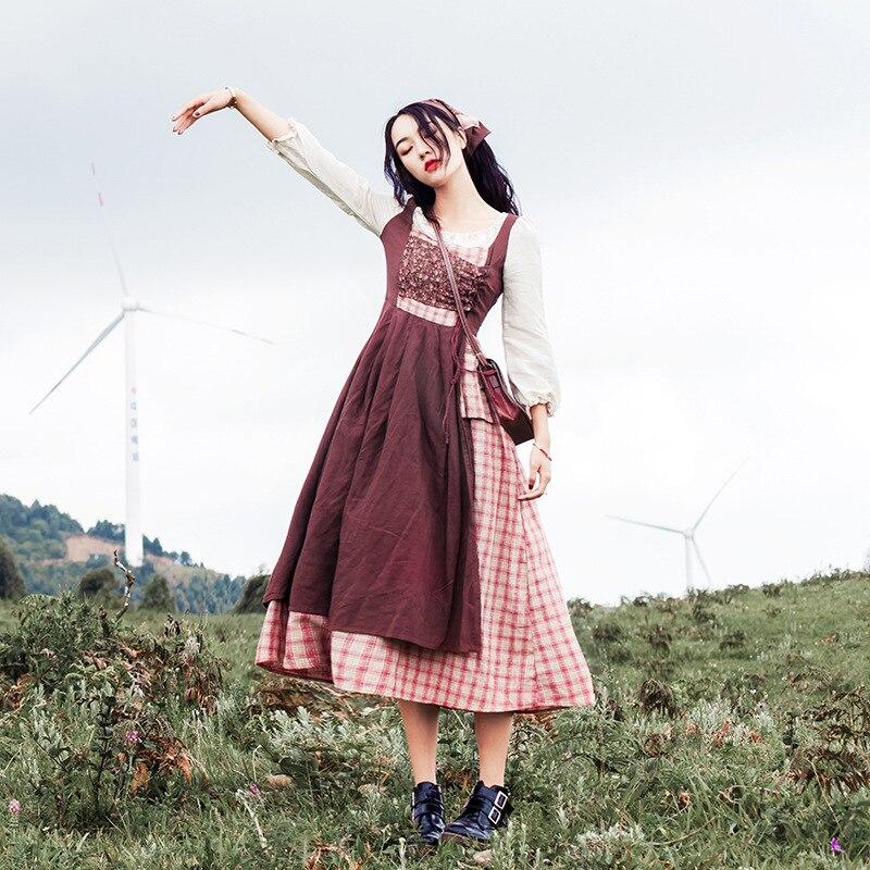Шикарное платье с цветочным принтом в стиле ретро; Платье в клетку с двумя вставками; Длинное платье для девочек в стиле Mori