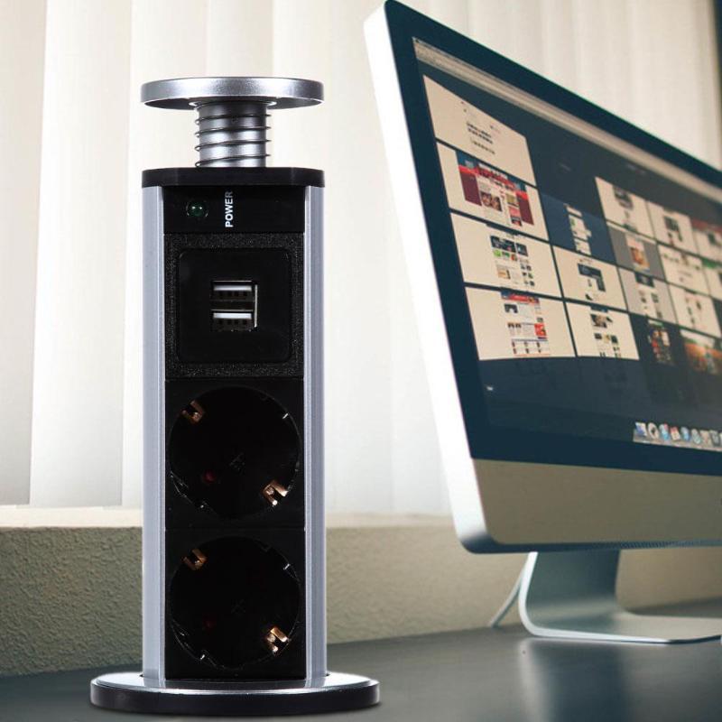 חדש 220V 16A למשוך פופ עד חשמל 3 שקעי תקע 2 USB לשקע חשמל שקע מטבח שולחן שקע עבור משטחי משטח עבודה האיחוד האירופי Plug