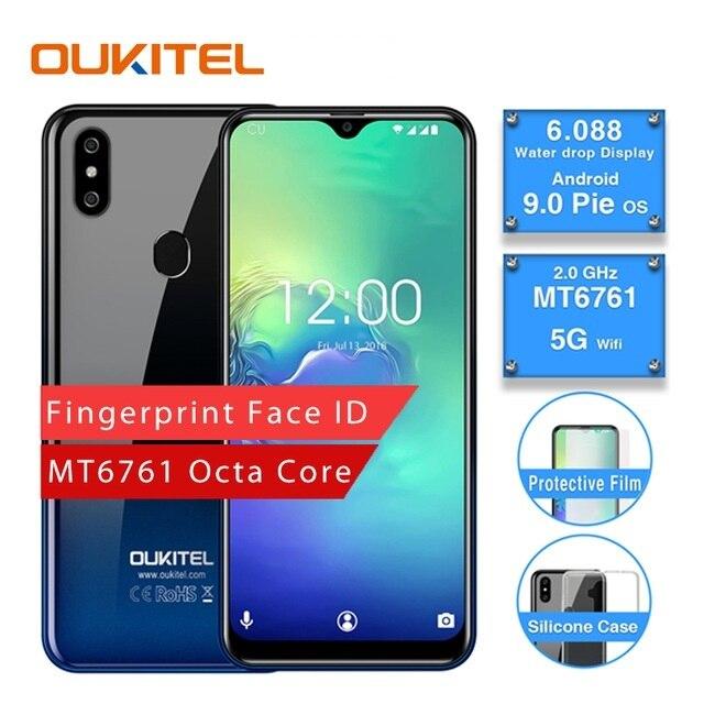 OUKITEL C15 Pro 2,4G/5G WiFi 4G LTE Smartphone Android 9,0 MT6761 huella cara de agua pantalla de caída 2GB 16GB teléfono móvil
