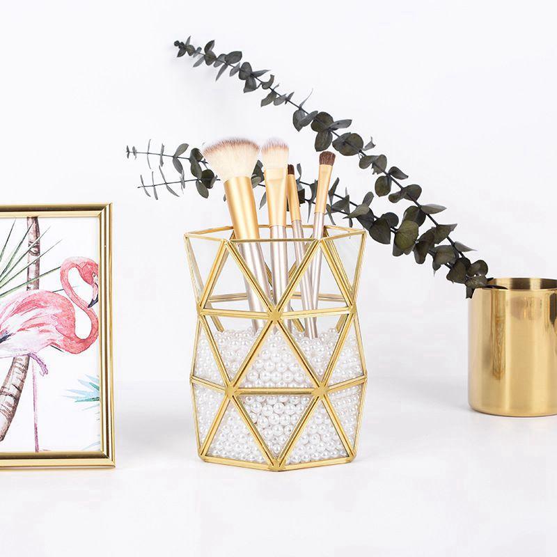 Irregular Glass Storage Tube Nordic Ins Gold Beauty Brush Tube Bronze Makeup Brush Storage Bucket Simple Inserted Vase