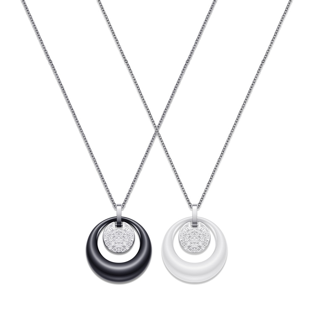 New Fashion Double Circle Ceramic Crystal Pendant Necklace for Women Stainless Steel Chain Rhinestone Charm Necklace