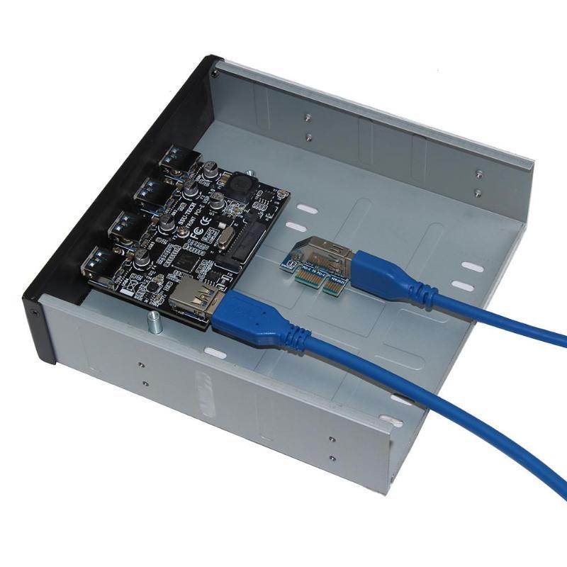 4 puertos USB 3,0 Panel frontal Combo soporte para PC escritorio USB3.0 Hub adaptador PCIE a USB 3,0 Hub Converter
