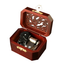 Creative Hollow Cover 18-Note Silver Movement Wind-up Wood Musical Box,Musical Toys for Kids Christm
