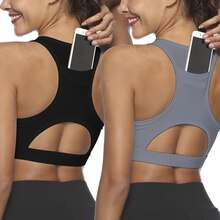 Women Running Stretch Gym Yoga Padded Hollow Phone Pocket Workout Sports Bra Tank Top