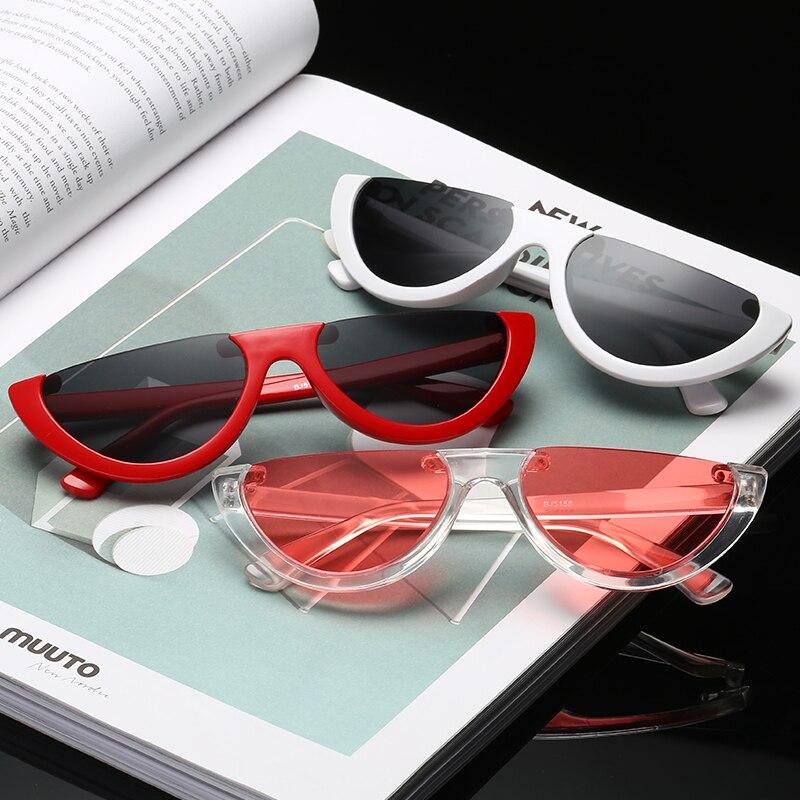 Vintage Fashion Cat Eye Semi Rimless Sunglasses Personality Sun Glasses Eyewear UV400 Women Brand De