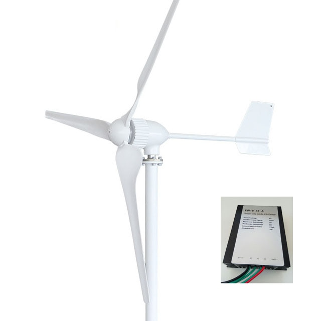 1000W 24V 48 voltios turbinas eólicas horizontales generador 3 láminas de FRP fuente de alimentación Molino de energía para el hogar
