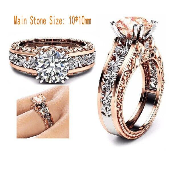 Anillo de compromiso de Zirconia cúbica de 14 K con flores de Color rosa dorado, joyería de regalo para mujer, anillo de boda para mujer