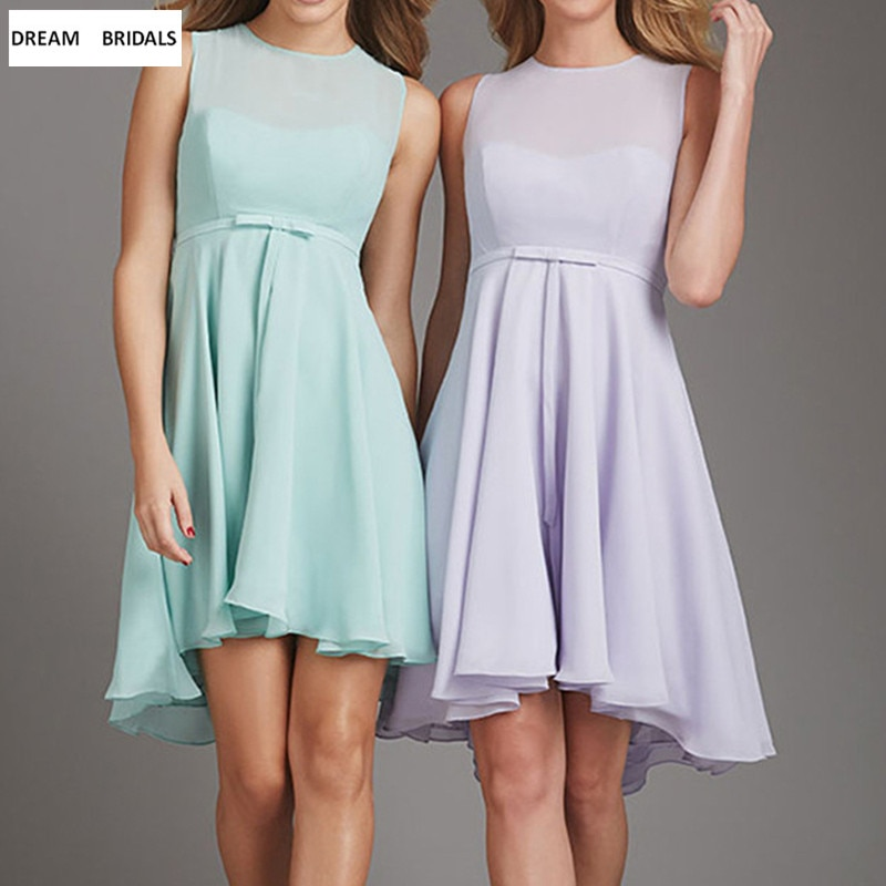 Mint Green/Purple Chiffon Cheap Maid Of Honor Dress Summer Wedding Party Gowns 2019 Knee Length A-Line Short Bridesmaid Dresses