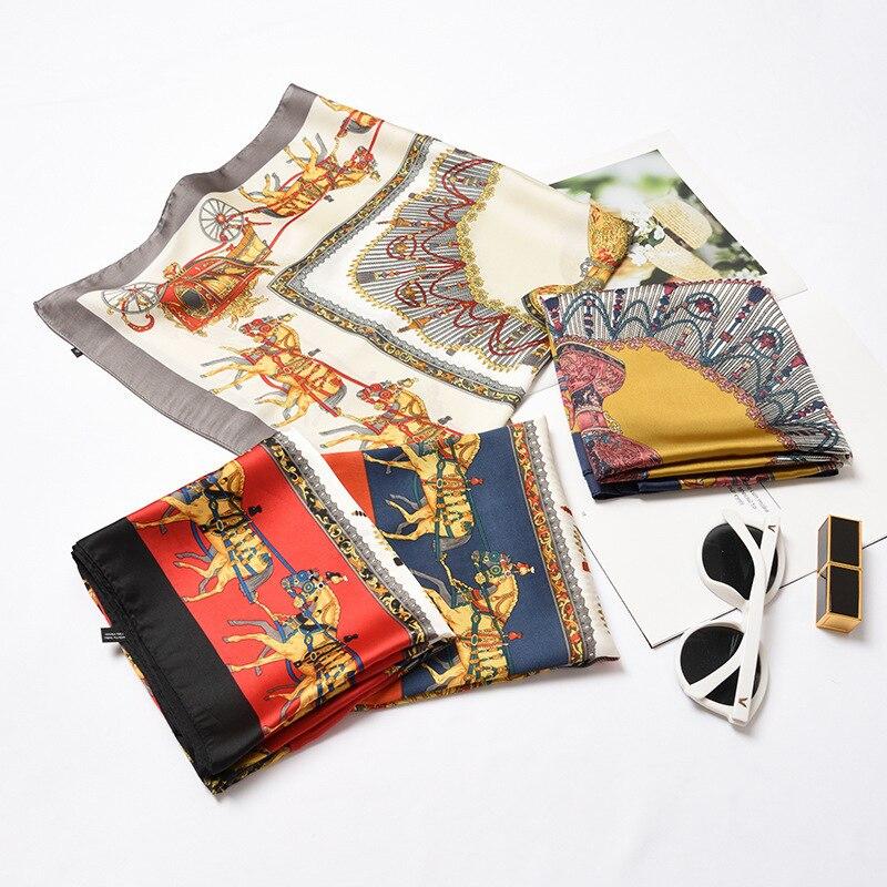 Novo padrão coreano moda corda impresso 70*70cm lenço quadrado para senhoras cetim seda pequeno pescoço cachecol