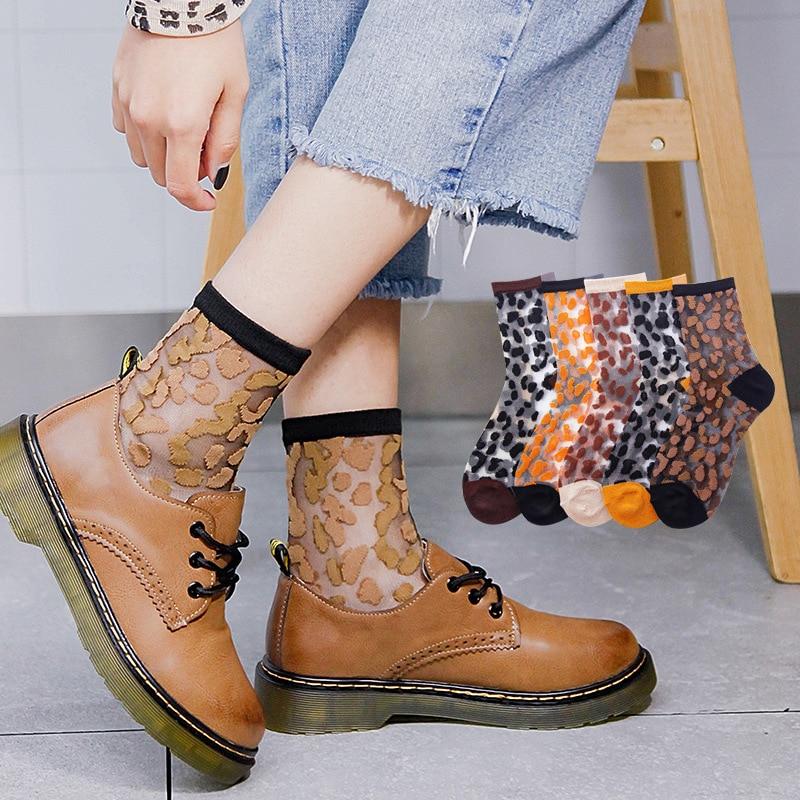 Sale Leopard Women Socks Splicing Funny Socks Harajuku Summer Transparent Crystal Silk Socks Casual Soft Speckle Socks
