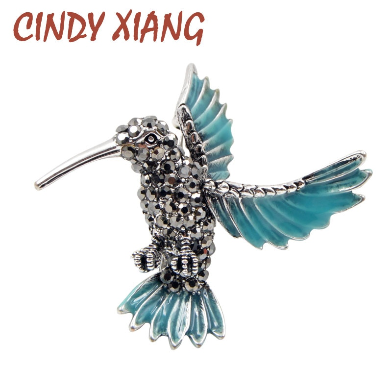 CINDY XIANG, recién llegado, broches de colibrí de diamantes de imitación para mujeres, lindo broche de pájaro azul, Pin, joyería Animal, adorno de abrigo de invierno